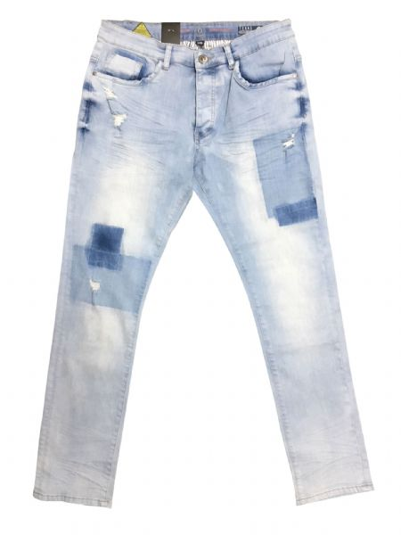iDenim Mens Designer Blue  Distressed Denim Slim Tapered Fit
